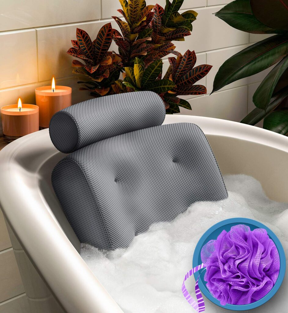 Luxury bath pillow for total bath time relaxation